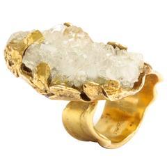 Roland Schad Brutalist Gold and Quartz Ring