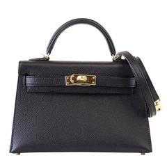 Hermes Kelly 20 Mini Kelly II Limited Edition Black Epsom Gold Hardware