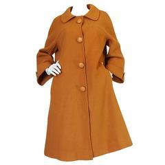 1950s Pierre Balmain Goldenrod Wool Swing Coat