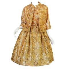 Rare 1950s Gustave Tassel Golden Silk Dress & Jacket
