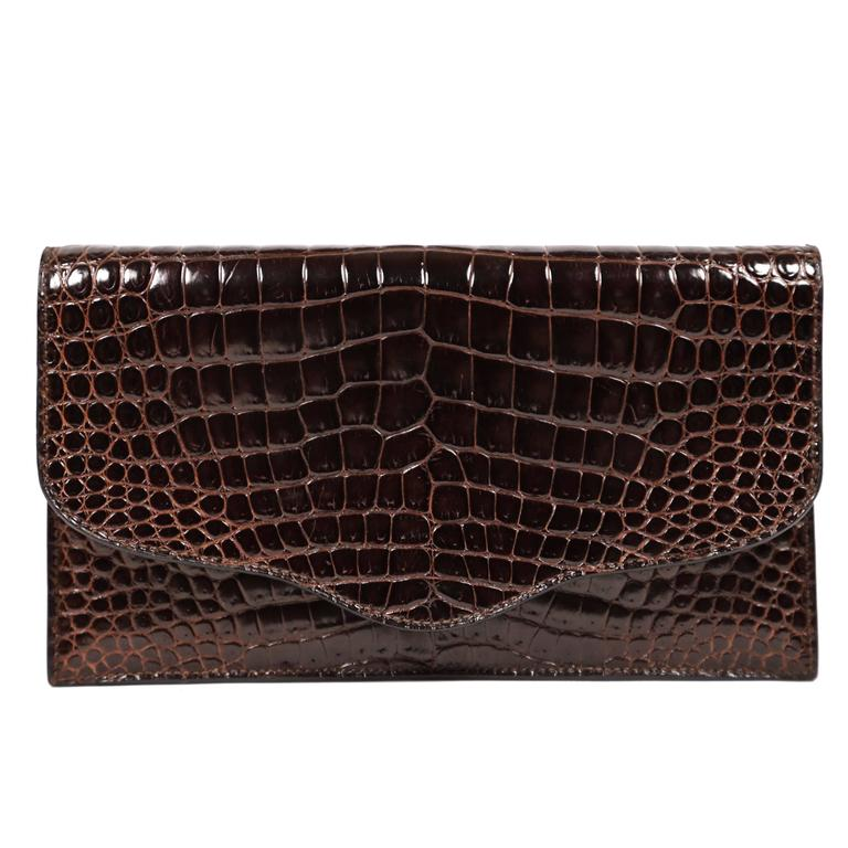 Hermes rich brown porosus crocodile convertible clutch, 1986  For Sale