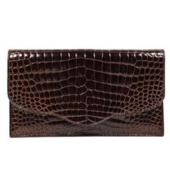 1986 HERMES rich brown porosus crocodile convertible clutch