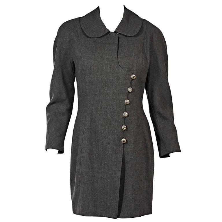 Grey Vintage Chanel Asymmetrical-Front Jacket For Sale