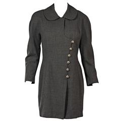 Grey Vintage Chanel Asymmetrical-Front Jacket