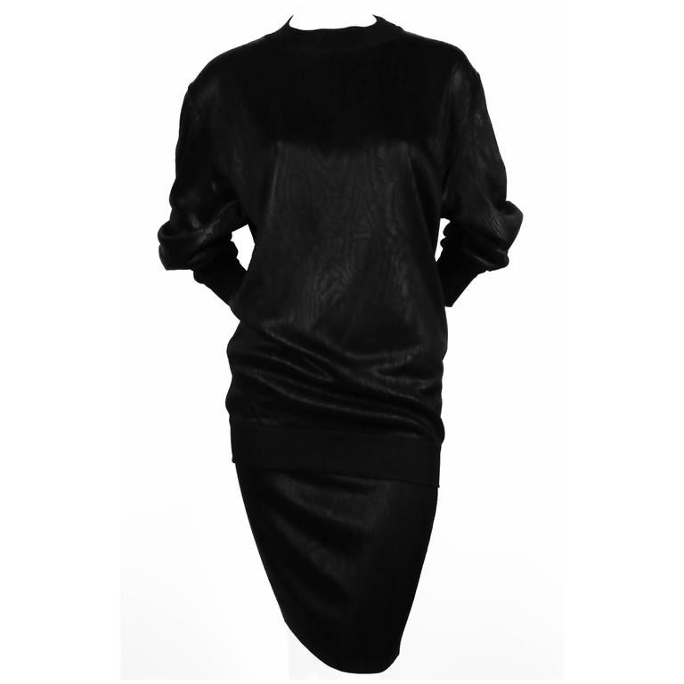 1980's AZZEDINE ALAIA black tunic and skirt For Sale