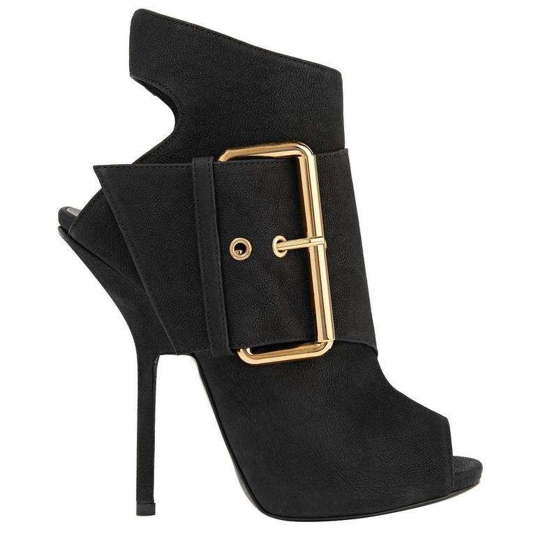 Giuseppe Zanotti NEW & SOLD OUT Black Leather Gold Buckle Ankle Booties in Box For Sale