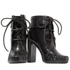 Tom Ford NEW & SOLD OUT Black Leather Moccasin Tie Up Ankle Booties in Box
