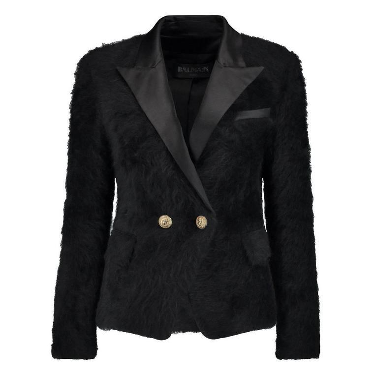 Balmain NEW Black Angora Gold Button Satin Evening Tailored Dinner Jacket Blazer 1