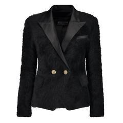 Balmain NEW Black Angora Gold Button Satin Evening Tailored Dinner Jacket Blazer