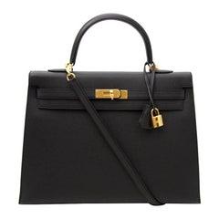 Brand New Black Hermes Kelly 35 Epsom