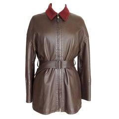 Hermes Brown Leather Vintage Jacket Bordeaux Lined Cashmere/Wool 38 / 6