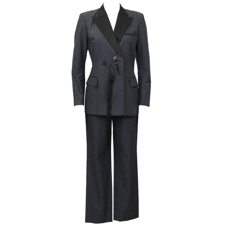 1990's Jean Paul Gaultier Grey and Black Tuxedo Style Pant Suit