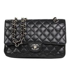 "Chanel Black Caviar Leather Medium 10"" Double Flap Classic Bag"