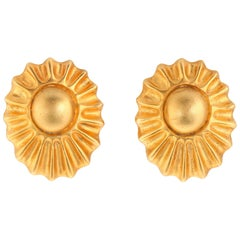 HERMES c.1990's Bijouterie Fantaisie Paris Gold Sun Ray Clip Earrings With Box