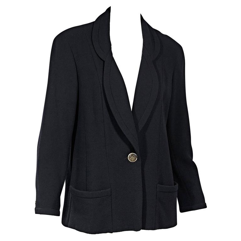 Navy Vintage Chanel Single Button Blazer For Sale