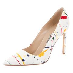 Manolo Blahnik Multi Color Canvas High Heels Pumps in Box