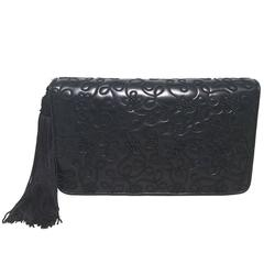 Judith Leiber Navy Blue Embroidered Leather Tassel Clutch