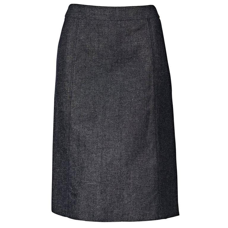 Blue Vintage Chanel Denim Skirt 1