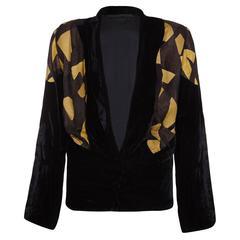 1930s Black Velvet and Lame Jacket