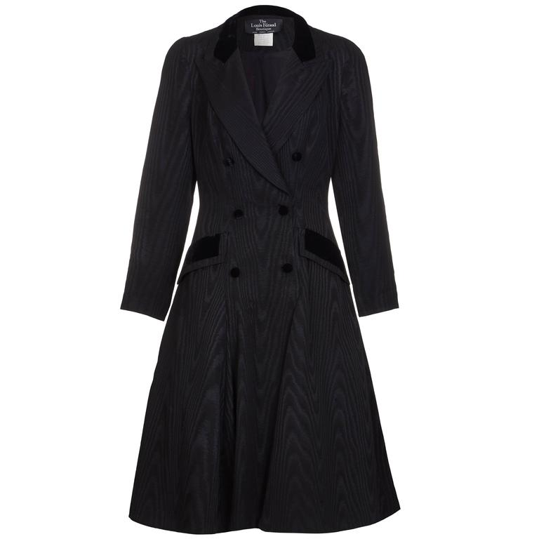 1980s Louis Feraud Black Moire & Velvet Fitted Coat Dress