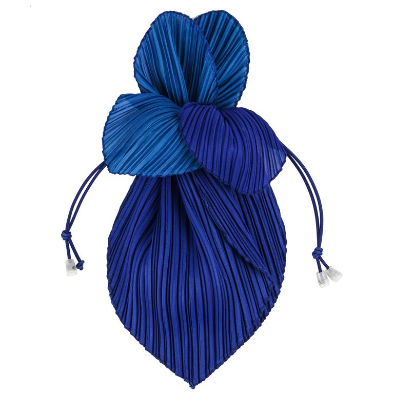 "ISSEY MIYAKE ""Pleats Please"" Royal Blue Pleated Drawstring Clutch Handbag Purse"