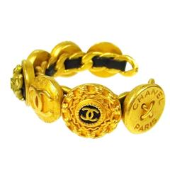 Chanel Vintage Rare Gold Black Leather Cameo Charm Cuff Bracelet in Box