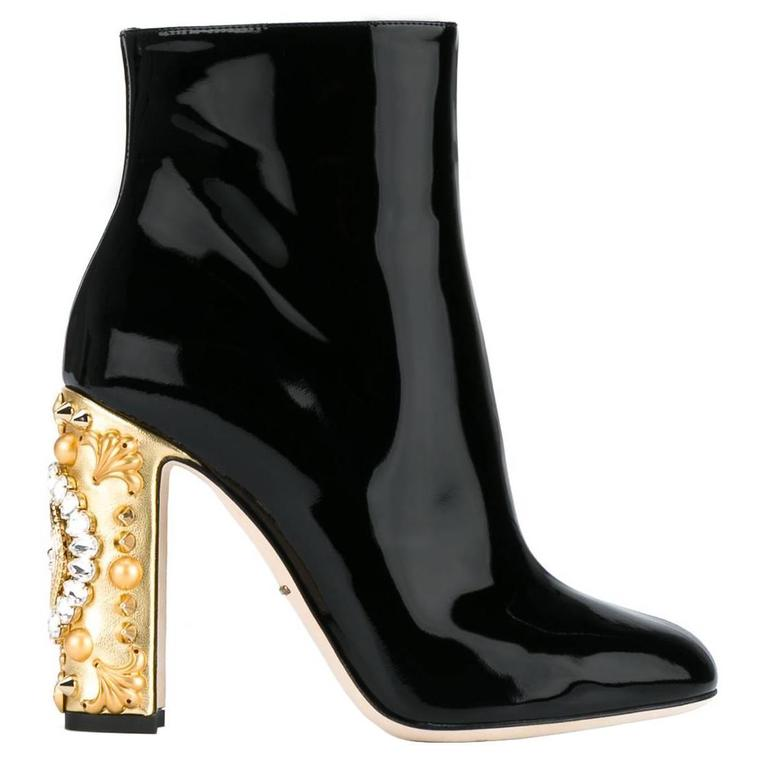Dolce & Gabbana NEW & SOLD OUT Black Gold Crystal Spike Ankle Booties in Box For Sale