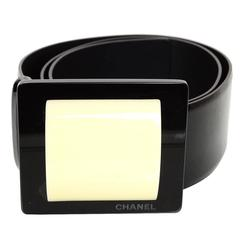 Chanel Black Patent Leather Wide Belt sz EU75