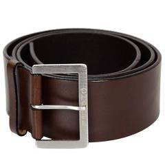 Chanel Brown Leather Belt sz EU95