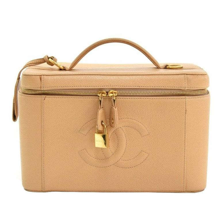 Chanel Vanity Beige Caviar Leather Large Cosmetic Hand Bag