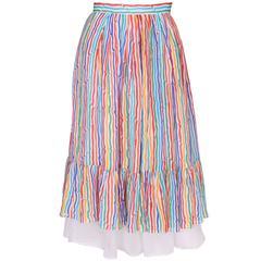 Caroline Charles Stripe Silk Skirt