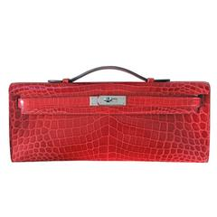 Hermes Kelly Cut Crocodile Shiny Porosus Bouganvillea Clutch Bag in Box
