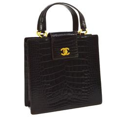 Chanel Crocodile Gold Kelly Evening Top Handle Satchel Bag