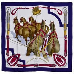 Classic Hermes Silk Attelage en Arabalete Scarf