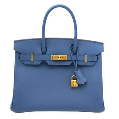 Brand New Hermes Birkin 30 Bleu Agate Epsom GHW