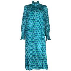 1970s Harrods Silk Smock Dress