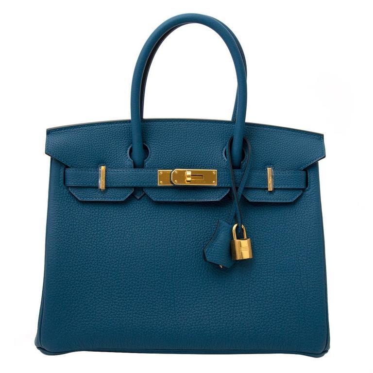 ada3fbe88b94 Brand New Hermes Birkin 30 Blue Cobalt Togo GHW at 1stdibs