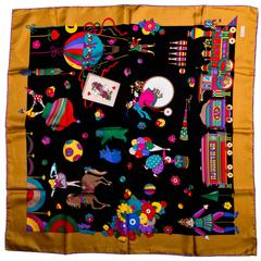 Vintage Circus Theme  Gucci Silk Scarf with a Gold Border and Purple Rolled Hem
