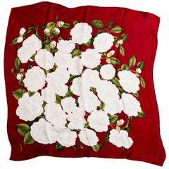 Chanel Red and White Silk Camellia Scarf