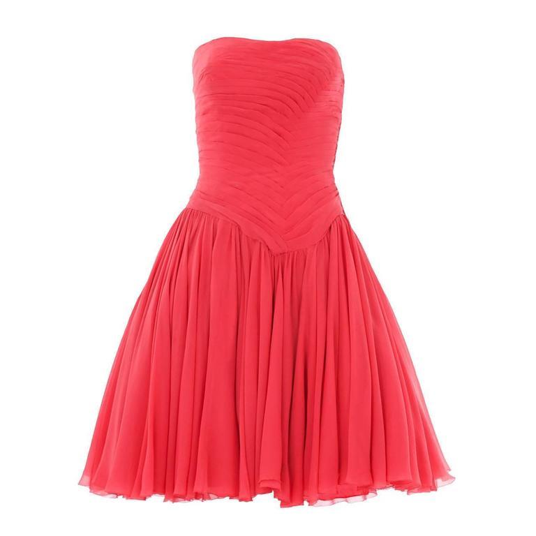Jean Dessès Haute Couture Pink Chiffon Dress, Circa 1965 1