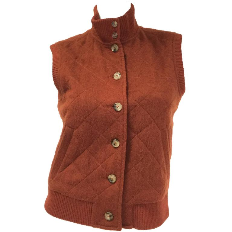 Vintage Loro Piana Cashmere Diamond Quilted Vest with Ribbed Trim