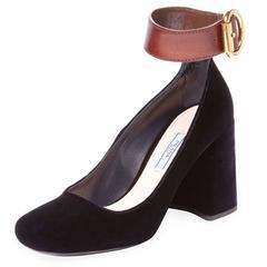 Prada Midnight Blue Velvet Leather Ankle Strap Evening Block Heels Shoes in Box