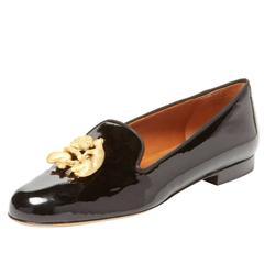 Giuseppe Zanotti NEW Black Patent Gold Lion Loafers Smoking Slippers Flats W/Box