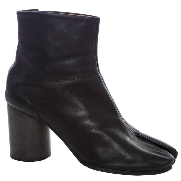 Maison Martin Margiela Black Leather Tabi Ankle Boots With