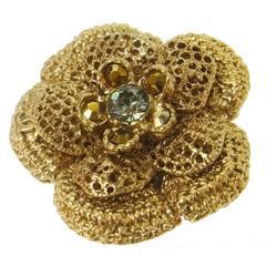 Chanel Gold Camellia CC Charm Flower Rhinestone Pin Brooch in Box