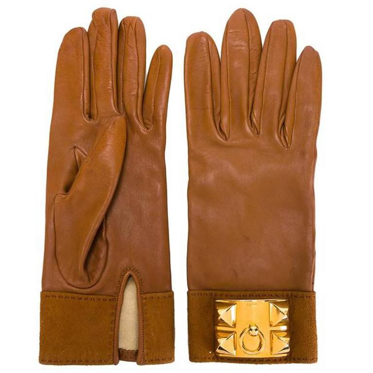 Hermès Medor Camel Lambskin Leather Gloves