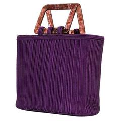 Rare Saint Laurent Purple Braided Tote Bag