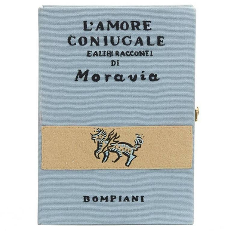 Olympia Le-Tan Blue Fabric L'Amore Coniugale Book Clutch, circa 2015 For Sale