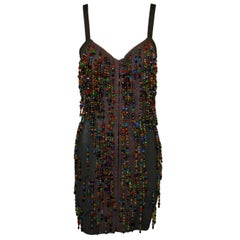 S/S 1990 Dolce & Gabbana Beaded Corset Bustier Black Bandage Mini Dress