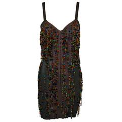 Dolce & Gabbana Beaded Corset Bustier Black Bandage Mini Dress XS/S, S/S 1990